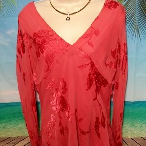 Shimmer coral lined blouse